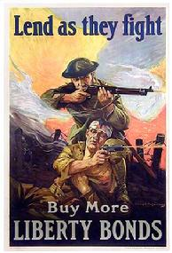 WAR POSTER WW1 BOND LEND AS THEY FIGHT